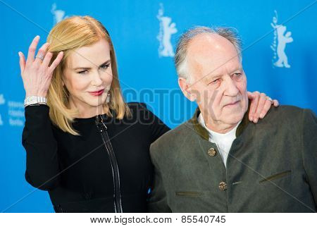 BERLIN, GERMANY - FEBRUARY 06: Actress Nicole Kidman and director Werner Herzog, photocall 'Queen of the Desert'. 65th Film Festival at Hyatt Hotel on February 6, 2015 in Berlin, Germany.
