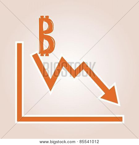 Decreasing Graph With Bitcoin Symbol
