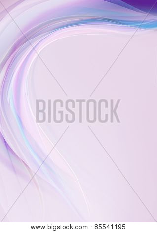 Transparent wave with  purple and  blue shades on a light purple background