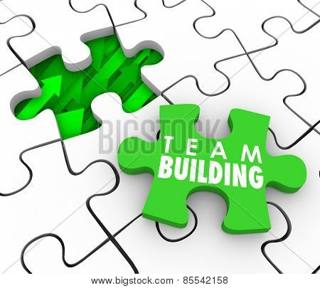 Team Building Words on a puzzle piece to fill a hole in your company, business or organization with new people or employees who will work together to achieve a common goal