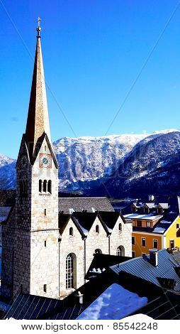 Hallstatt Church With Mountain View