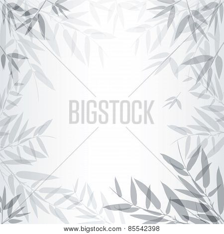 Abstract Gray Background With Leaves.