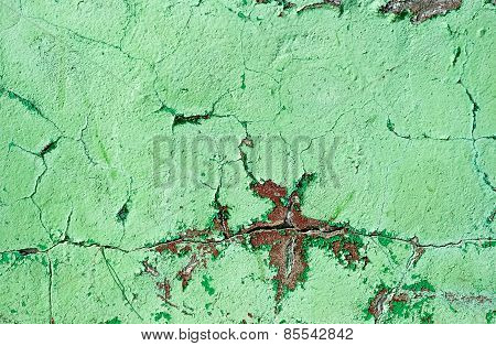 Green Painted Wall Damage Surface