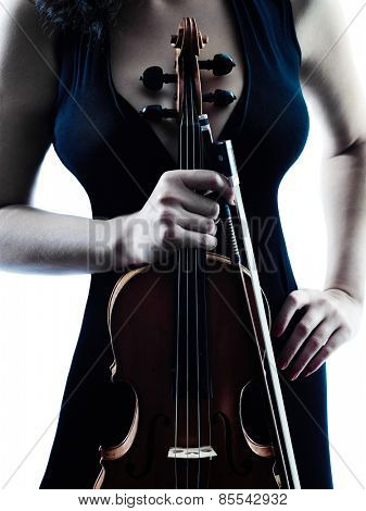 one caucasian Violinist woman player playing violon studio slihouette isolated in white background