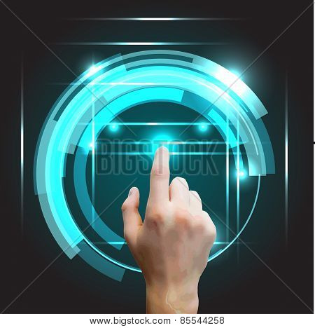 Users hand selecting concept background with futuristic blue virtual graphic