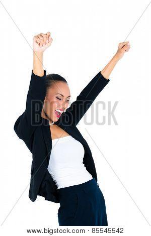 Asian business woman celebrating her success