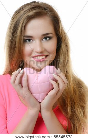 young happy woman hold heart . valentine day concept
