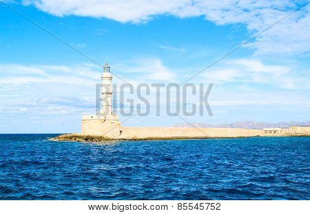 Sunny Lighthouse In Mediterranean Sea, Crete