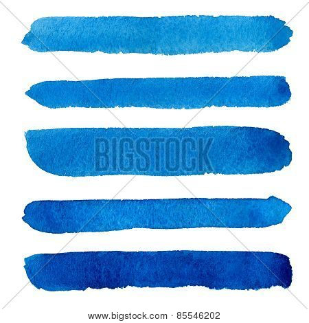 Watercolor blue brush strokes background design