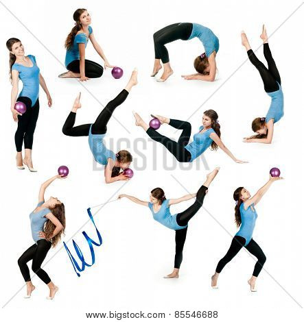 photo collage of a young gymnast with ball and ribbon isolated on white background