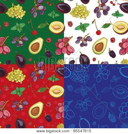 Seamless Vector Pattern With Grapes, Plums, Cherries, Avocado, Mint, Raspberry, Blackberry
