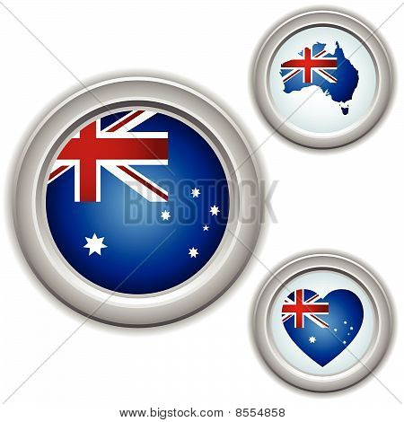 Vector - Australia Buttons with heart, map and flag