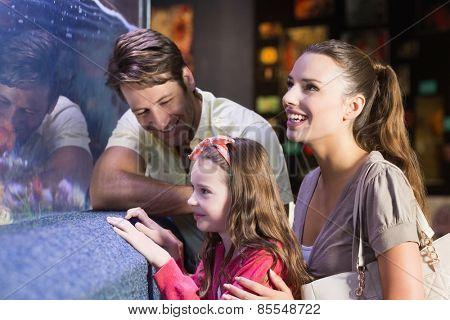 Happy family looking at fish tank at the aquarium