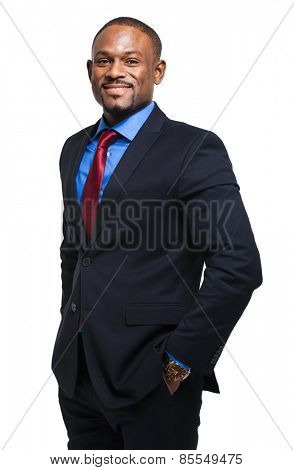 African business man isolated on white