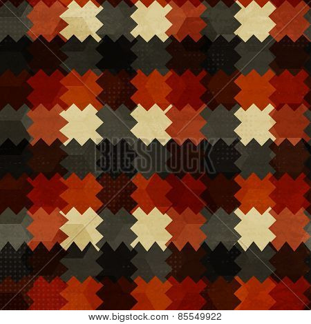 Vintage Zig Zag Red Seamless Pattern