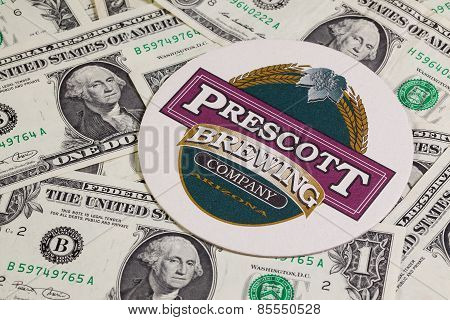 Beermat From Prescott Beer And Us Dollars
