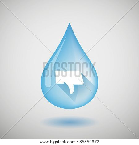 Water Drop With A Thumb Down Hand