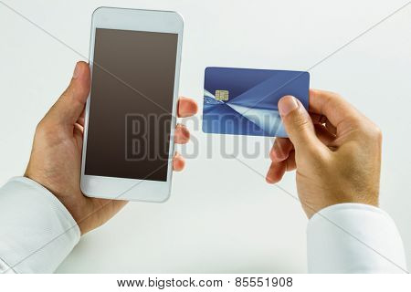 Man using smartphone for online shopping in close up