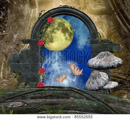 Romantic scenery with moon