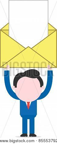 Businessman Holding Mail Icon With Document