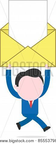 Businessman Running And Holding Mail Icon With Document