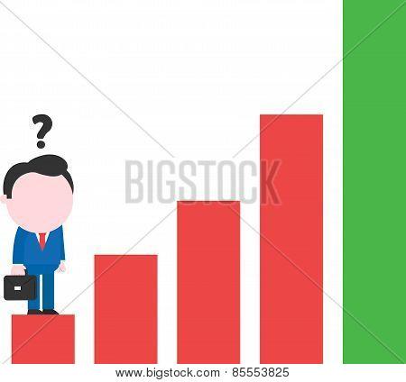 Businessman Standing On Red Bar Chart