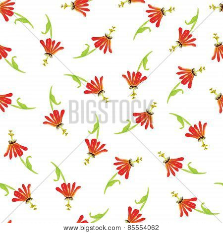 Exotic Red Flowers Watercolor Seamless Vector Print