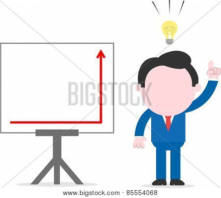 Businessman Beside Chart With Arrow Is Suddenly Up