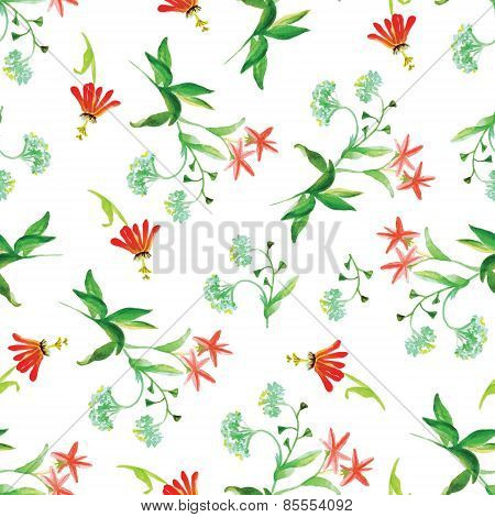 Capsella And Red Flowers Watercolor Seamless Vector Print
