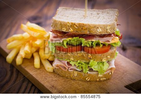 Delicious sandwich on the table