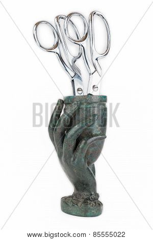 Cast Metal Hand Vase with Scissors.