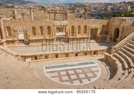 The Roman Amphitheatre At Jerash In Jordan.