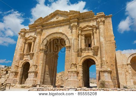 The Arch Of Hadrian At Jersah In Jordan Showing The Front View