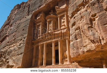 The Treasury Building Carved Into The Roack Face At Petra In Jordan