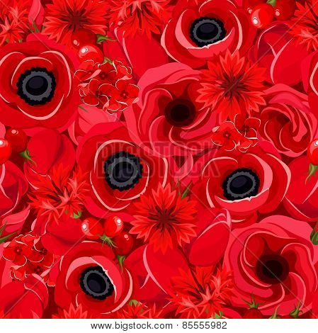 Seamless background with various red flowers. Vector illustration.
