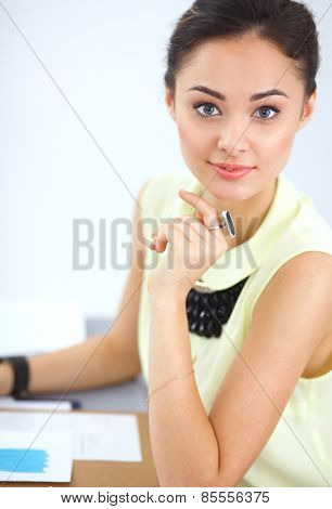 Modern young fashion designer working at studio .