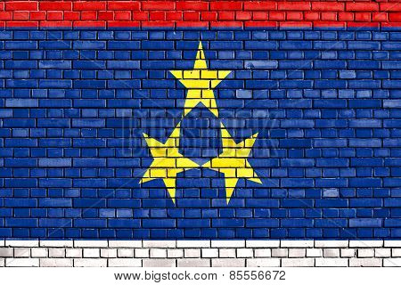 Flag Of Vojvodina Painted On Brick Wall