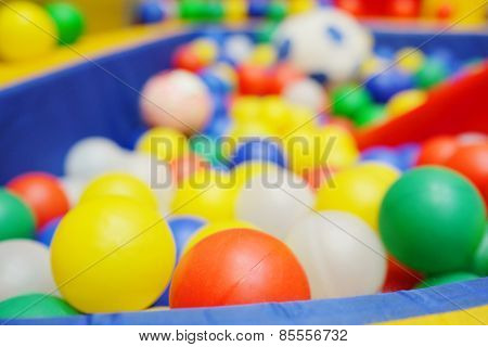 Colorful plastic balls from the children's playground