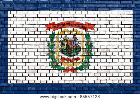 Flag Of West Virginia Painted On Brick Wall