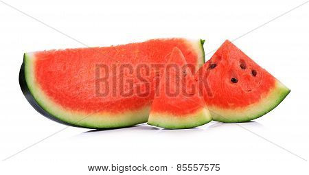 Slice Of Water Melon On A White Background