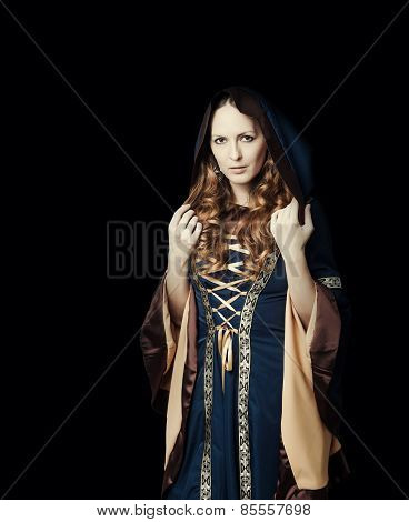 Beautiful woman wearing medieval dress