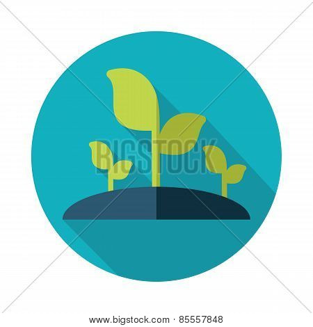 Plant Sprout Flat Icon With Long Shadow