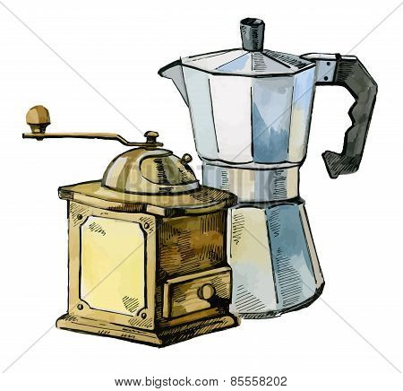 vector mill and coffee maker