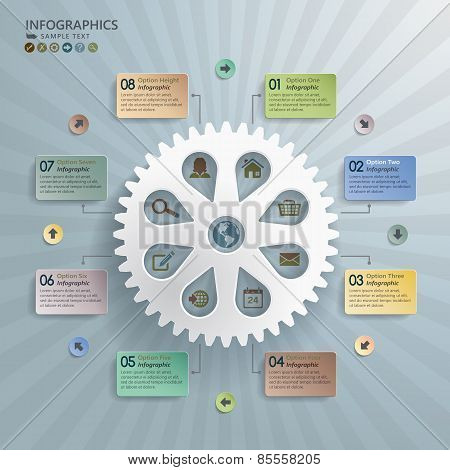 Cogwheel Abstract Modern Infographics Background