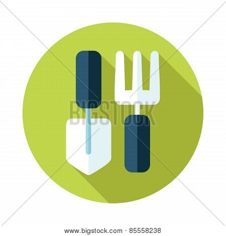 Garden Tool Flat Icon With Long Shadow