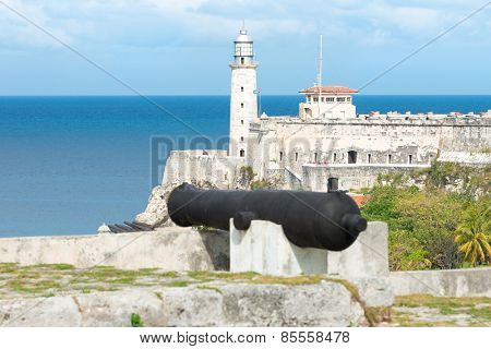 The fortress of El Morro in Havana with  old spanish cannons on the foreground