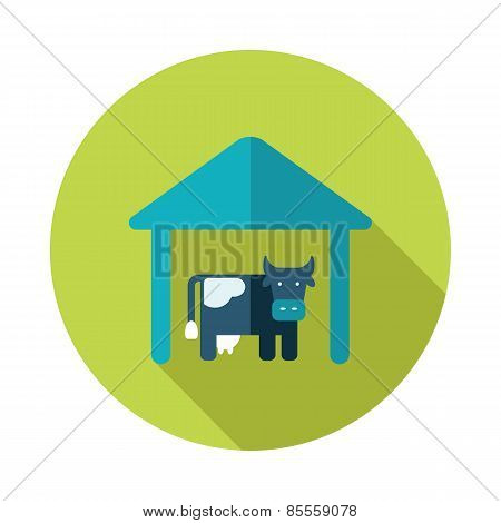 Cowshed Flat Icon With Long Shadow