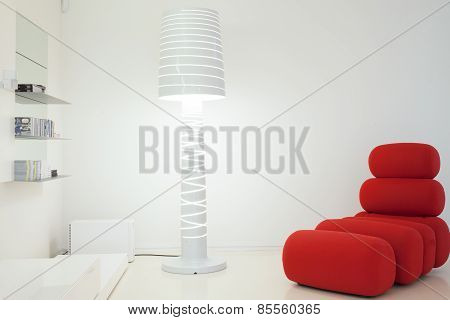 Designed Couch And Lamp