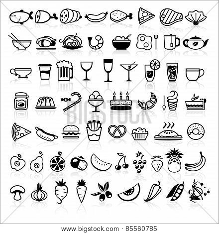 Vector Black Food Icons On White