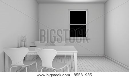 Interior Rendering Of A Kitchen Without Textures